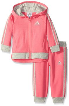 Adidas Baby-Girls Fast Fleece Set, Solar Pink, 24 Months