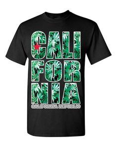 California Republic Weed Pattern T-shirt Weed Smoker Shirts Medium Black