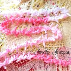 SALE Pink Ribbon Ombre Trim Frilly Ruffle by SweetlyScrappedArt