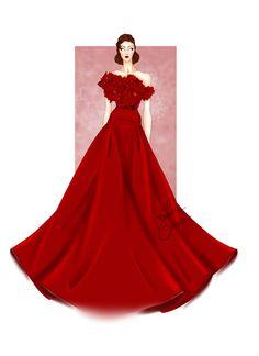 Evening gown by Laura Tessaris #fashionsketch  #fashionillustration #lauratessaris
