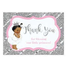 Little Princess Thank You Card Faux Glitter Card - invitations custom unique diy personalize occasions