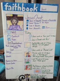 Use Styrofoam boards (from dollar store) to create faith (face)book profiles.  Good way to encourage youth classes to learn and retain information about Biblical characters and stories