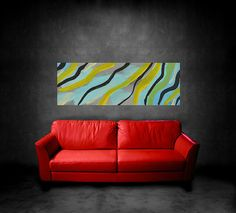 ABSTRACT PAINTING yellow painting modern home by JerryTitanArt