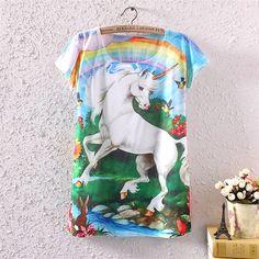 Vintage Summer Women's Short Sleeve Unicorn Graphic Printed T Shirt Blouse Tops 3d T Shirts, Cheap T Shirts, T Shirts For Women, Unicorn Graphic, Unicorn Hoodie, Moda Casual, Harajuku Fashion, Harajuku Style, Manga