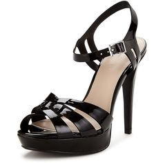 V By Very Hamilton Patent Platform Ankle Strap Sandals (745 INR) ❤ liked on Polyvore featuring shoes, sandals, black chunky sandals, black patent leather sandals, ankle strap sandals, ankle strap high heel sandals and high heel platform sandals