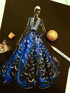 Zuhair Murad fashoon Illustration by Houston fashion Illustrator Rongrong DeVoe. Jenna Tatum wore this navy gown at the golden globes Fashion 101, Fashion Books, Couture Fashion, Trendy Fashion, Fashion Illustration Dresses, Fashion Sketches, Fashion Illustrations, Fashion Drawings, Zuhair Murad Dresses