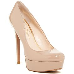 Jessica Simpson Sandrah Platform Pump ($40) ❤ liked on Polyvore featuring shoes, pumps, nude, nude shoes, round toe pumps, nude high heel pumps, slip-on shoes and round toe platform pumps
