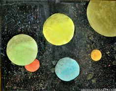 Hand dyed paper with chalk pastel solar systems - grade 6