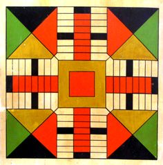 Antique parcheesi game board.