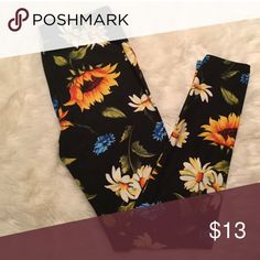 Just in! Sunflower print leggings Boutique item. Brand new. Floral Print Brushed Ankle Leggings  One size fits 2-12 comfortably   Cute and super soft brushed legging, featured in a floral print.  Smooth and super comfortable fit in a very soft brushed peach skin fabric  Paneled elastic waistband  Approx. 27 in. inseam 92% polyester, 8% spandex Pants Leggings