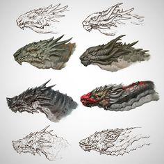 Dragon sketches, Evgeniy Gottsnake on ArtStation at https://www.artstation.com/artwork/rA5b5