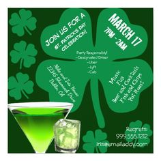 Patrick's Day Party Invitation created by markalino. Zazzle Invitations, Party Invitations, Roast Fish, Spa Weekend, Retirement Parties, Good Music, Rsvp, Birthdays, Cocktails