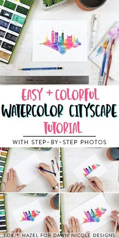Easy Watercolor Cityscape Step-by-Step Tutorial. This watercolor cityscape is so easy to paint and can be made in about a million different ways. Grab you watercolors and let& get painting! via Dawn Nicole Designs® - Watercolor Beginner, Watercolor Paintings For Beginners, Step By Step Watercolor, Watercolour Tutorials, Watercolor Techniques, Easy Paintings, Indian Paintings, Drawing Tutorials, Acrylic Paintings
