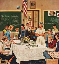 vintage home economics school posters | vintage illustration Sat Eve Post high school home economics class