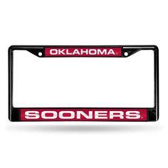 Oklahoma Sooners NCAA Black Chrome Laser Cut License Plate Frame