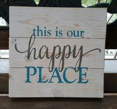 "10.5"" x 11"" wooden pallet sign Great addition to your happy place or as a housewarming gift for someone special. Whitewashed background with blue and grey lettering. distressed/weathered finish Custom orders welcome! All items I have for sale are crafted by hand, rather than mass produced as you would find in a store. Because of this, your piece may slightly vary from photos shown. My wood signs are often made from reclaimed wood and pallets. They will vary slightly from photos..."