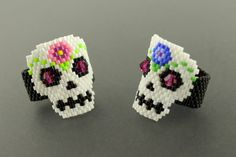 Sugar Skull Ring...Peyote Woven Delica Seed by CabinFeverBracelets