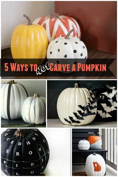 5 Ways to Not Carve a Pumpkin. Looking for pumpkin decorating ideas for your Halloween decorations? Here are 5 easy ways and you don't need a knife! Holidays Halloween, Halloween Treats, Halloween Pumpkins, Fall Halloween, Halloween Decorations, Happy Halloween, Halloween Camping, Spooky Decor, Halloween Makeup