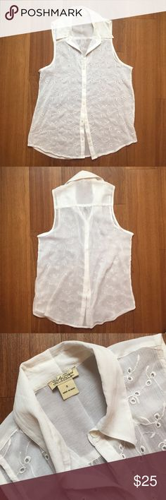 White sheer eyelet sleeveless blouse🕊 White sheer eyelet button-down blouse. Lucky Brand. Size small, but fits loose. Mother of pearl-looking white buttons. Great springtime top! Clean, great condition, only worn once or twice. Make me an offer! Lucky Brand Tops Blouses