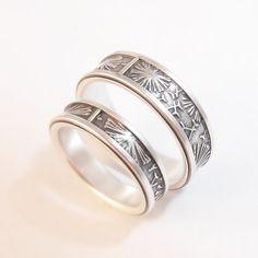 Anillo de la boda conjunto diente de León de plata anillo de
