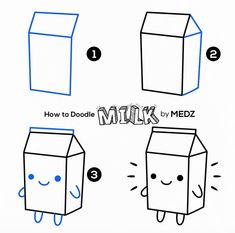 Doodles are so fun to make and easy Too! This Cute Milk Carton and Lots more Ide Doodle Art Carton Cute doodle art for beginners Doodles Easy Fun ide Lots Milk Doodle Art For Beginners, Easy Drawings For Beginners, Easy Doodle Art, Easy Drawings For Kids, Doodle Learn, Kawaii Drawings, Doodle Drawings, Cute Drawings, Doodle Art Letters