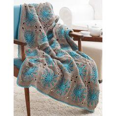 "Free Intermediate Afghan Crochet Pattern, ""Starburst"", Bernat Super Saver"