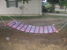 DIY duct tape hammock.  Make one for camping.