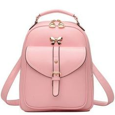 How nice Cute Girls' Bow Buckle Student Bag Simple PU College Backpack ! I like it ! I want to get it ASAP! #FashionBackpacks