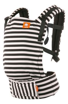 Black and white stripes baby carrier! Keep your little one close with an ergonomically designed baby carrier designed to provide custom comfort for baby and grown-up alike with multiple width and height settings, adjustable straps and breathable, lightweight twill fabric.