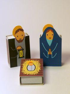 DIY nativity scene doubling as an advent calendar- reveal an item each day and the matchbox has a treat inside!