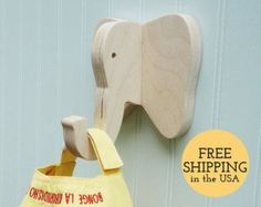 Wall hooks Rhino wall hook: playful wooden rhino от thejunglehook