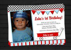 Little Red Wagon Birthday Invitation Digital File YOU-PRINT on Etsy, $12.25