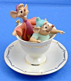 lenox disney figurines | Lenox Disney Cinderella Jaq & Gus Tea Party Pals Figurine $136 NIB