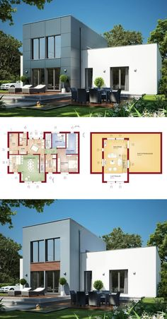 Stadtvilla Haus Modern Mit Galerie U0026 Walmdach Architektur   Einfamilienhaus  Bauen Grundriss Fertighaus Sunshine 154 V6 Living Haus   Hauu2026