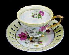 Vintage Enesco Footed Tea Cup Saucer • Yellow White Gold Trim Lustreware Finish…