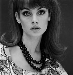 Jean Shrimpton with black necklace by John French, by John French
