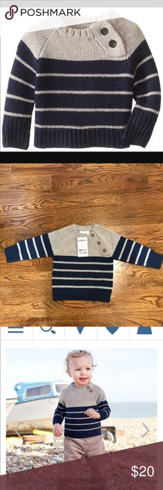 Boys 18-24 Month Cozy Raglan Sweater Jumper Grey and navy stripped sweater from Jojo Maman Bebe British children's clothing. cosy knitwear Jumper Chunky knit gives a classic look, and it's designed to co-ordinate with many styles. Made from soft lambswool mix, it won't scratch delicate skin, ensuring comfortable wear all day long. Fit and features Breton inspired Raglan sleeves Rib knit detailing Button side neck opening 80% Lambswool, 20% Nylon Machine washable at 30 degrees Jojo Maman Bebe…