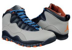$129.97 310805-026 Men's Nike Air Jordan 10 Retro Charlotte Bobcats Wolf Grey-Dark Powder Blue-New Slate-Atomic Orange