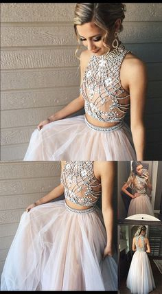 Two Piece Prom Dresses,A line Tulle Prom Dress with Beads,Fashion High Neck Prom Dress,prom dress,prom dresses