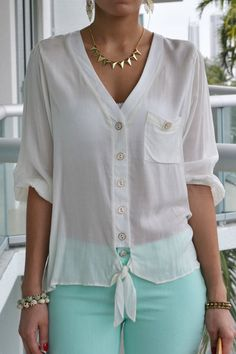 Discover this look wearing LSM Tops - Dana Tie Front Ivory Top by Shirts Blouses That Make You Look Fabulous - Daily Fashion OutfitsDizzy Shirts Blouses from 20 of the Perfect Shirts Blouses collection is the most trending fashion Blouse Styles, Blouse Designs, Chic Outfits, Fashion Outfits, Womens Fashion, Shirt Blouses, Shirts, Summer Blouses, Elegant Outfit