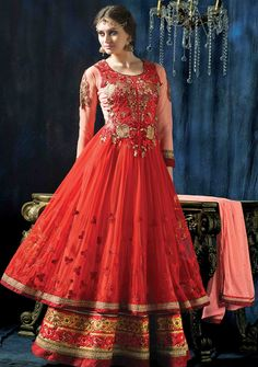 Usd 83 15 red net ankle length anarkali suit 48539