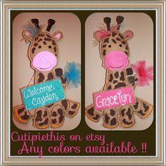 Giraffe burlap Baby Door hanger  decoration  by Cutipiethis, $35.00