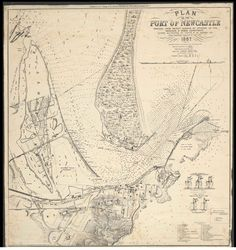 Plan of the Port of Newcastle [cartographic material] : reduced from recent surveys by officers of the Harbours & Rivers Department ; outer soundings by Captn. F.W. Sidney, R.N. ; inner soundings corrected to June 1879 / Lithographed by Forster & Co., 2 Crow Street, Dublin, Ireland. Australia Map, Newcastle Nsw, Old Maps, Vintage Maps, Old Photos, Dublin Ireland, Adventure, How To Plan, History