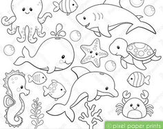 Jungle Friends Digital stamps Clipart von pixelpaperprints