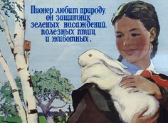 love nature, protect birds and creatures - soviet poster