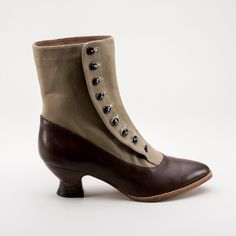 Manhattan Button Boots (Brown/Tan)(1890-1920) by American Duchess - true side-buttoning boots with cotton tops and leather bottoms.