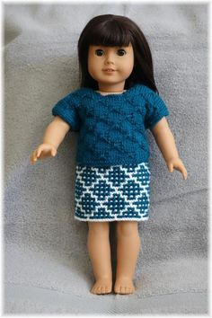 Looking for your next project? You're going to love American Girl Bowknot Top + Skirt by designer Purl Knit Designs.