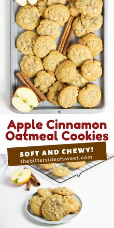 Using my basic cookie recipe these Apple Cinnamon Oatmeal Cookies have a fall twist to them! With lots of apples and cinnamon flavor!   The Bitter Side of Sweet Holiday Cookie Recipes, Best Cookie Recipes, Apple Recipes, Sweet Recipes, Bar Recipes, Yummy Recipes, Dessert Recipes, Yummy Food, Desserts