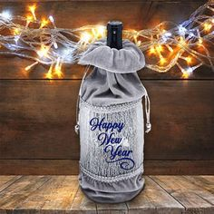 Wine Bottle Gift, Bottle Bag, New Year Wishes Images, Just Wine, Wine Tote Bag, Happy New Year Greetings, Blue Glitter, Blue Bags, Bottle Crafts