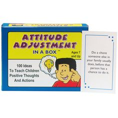 Attitude Adjustment In a Box Card Game. Children with a positive attitude are much more likely to be well behaved and socially successful, and even to perform better in school! $21.95